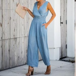 Pants - NWT EASY POCKETED SMOCKED JUMPSUIT